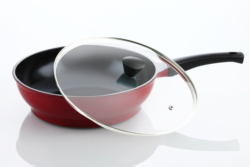 amore kitchenware flamekiss 12 red ceramic coated nonstick wok - Best Non Stick Frying Pan