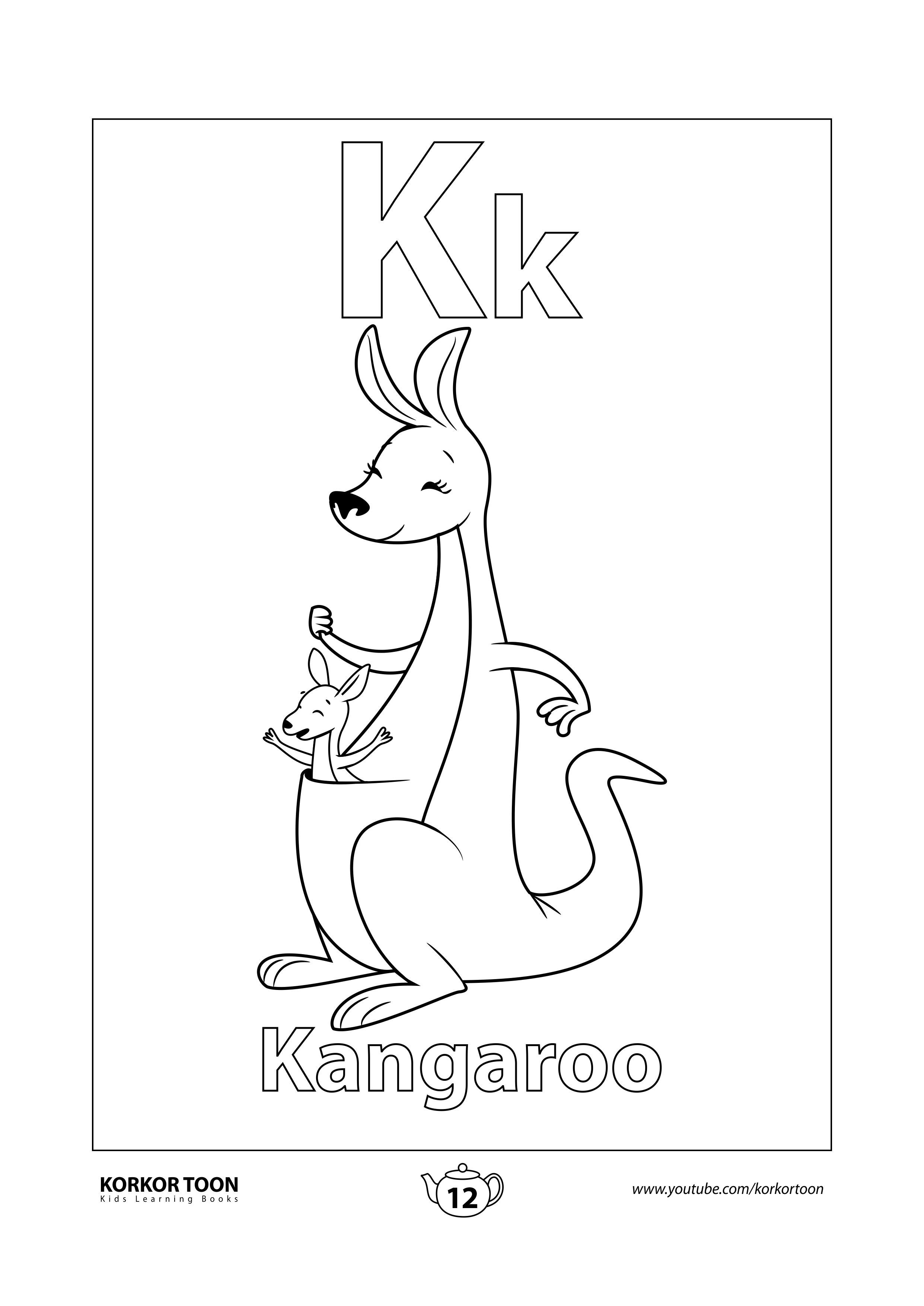 Kangaroo Coloring Page Abc Coloring Book Kids Printable Coloring Pages Coloring Books Stitch Coloring Pages
