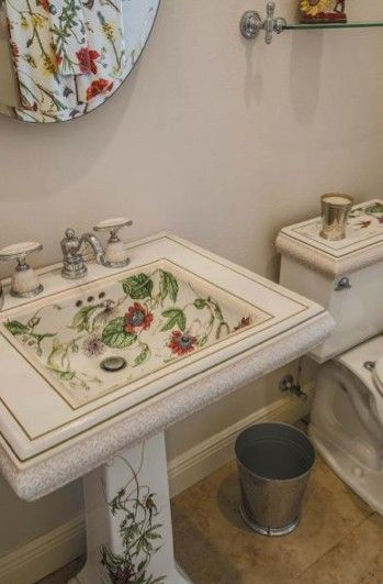 Lovely Matching Kohler Porcelain Sink, Mirror And Commode Hand Painted