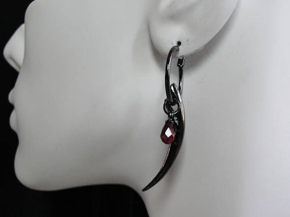 Gothic Jewelry Fang Earrings Red Stone Hoop Fangs Twilight Goth With Long Black And Drop Of