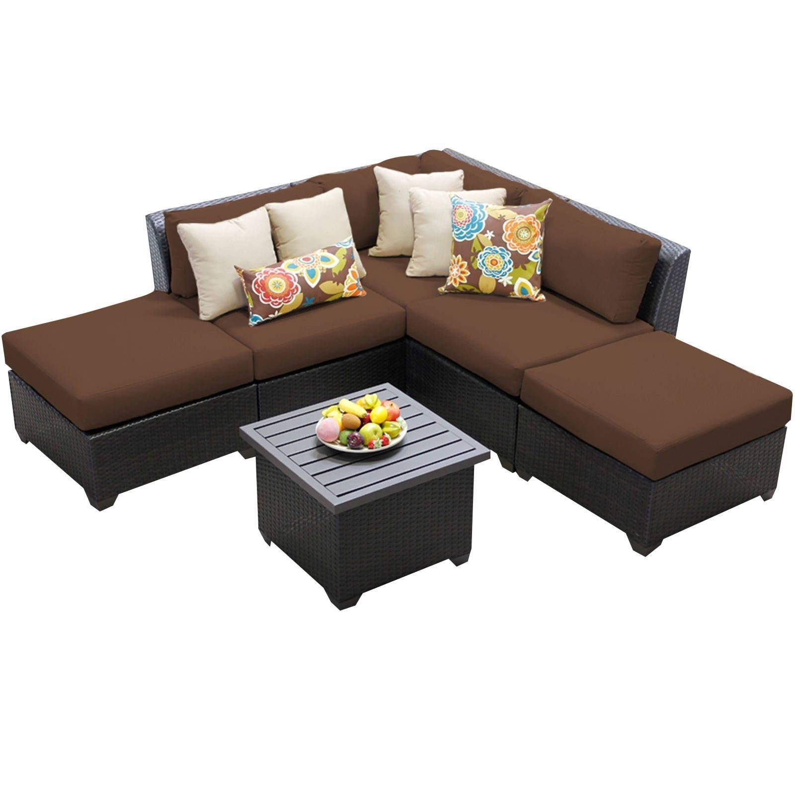 Meridian 6 Piece Outdoor Patio Wicker Lounge Set with Ottomans and End Table (Cocoa Brown), Size 6-Piece Sets, Patio Furniture (Acrylic)