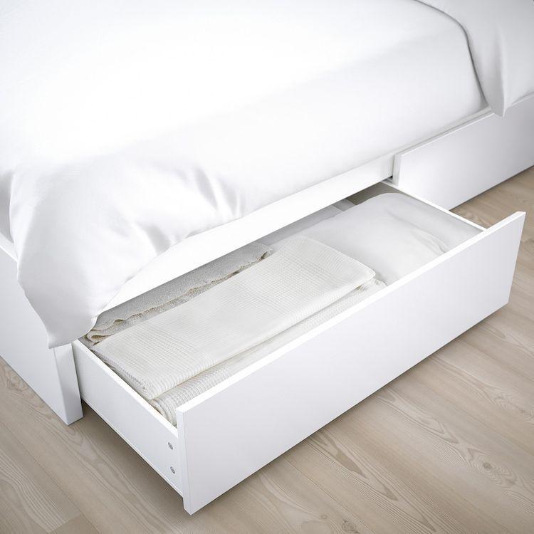 Malm Hochbettgestell 4 Aufbewahrungsboxen Weiss Malm Bett