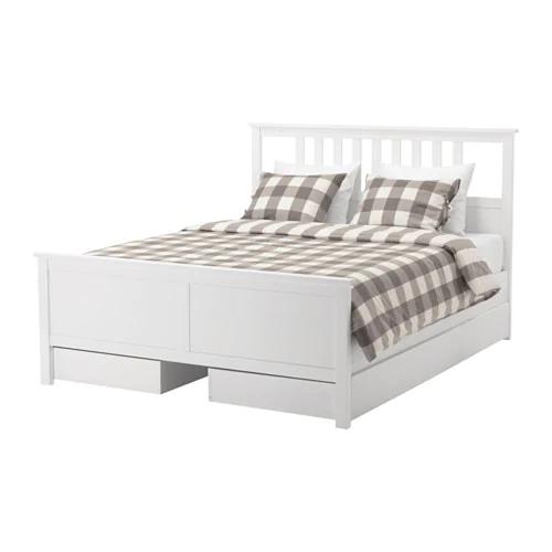 Ikea Hemnes Gray Dark Gray Stained Luroy Bed Frame With 4 Storage Boxes Ikea Hemnes Bed Hemnes Bed Bed Frame With Storage
