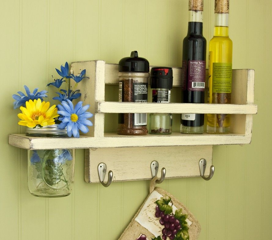 Primitive Country Spice Rack with Mason Jar Vase in distressed ...