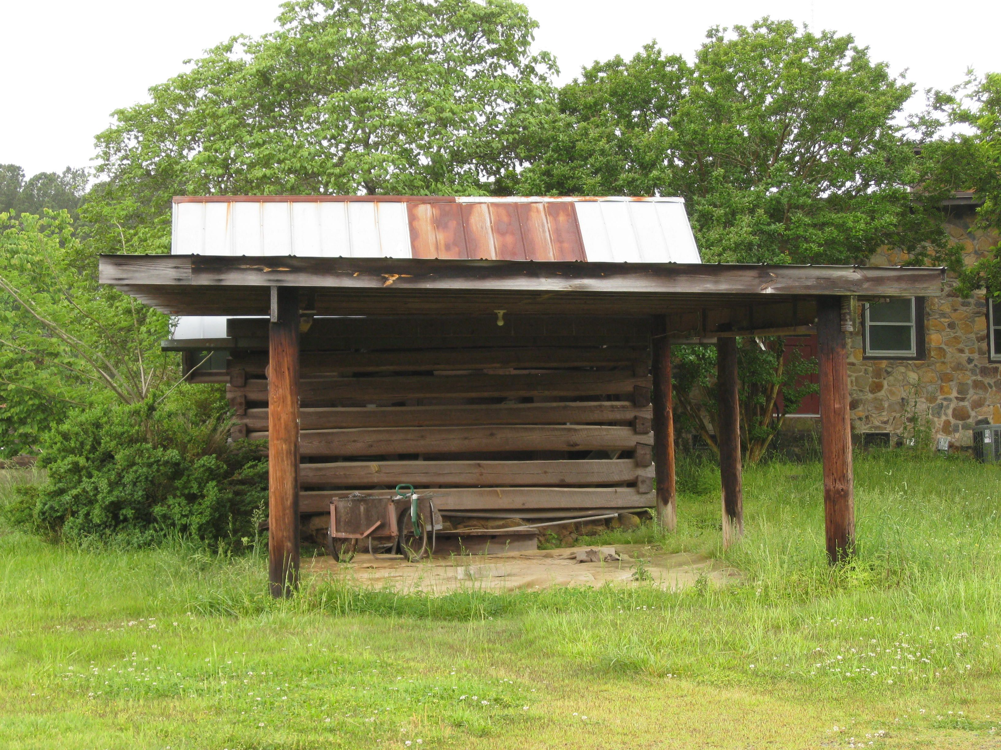 Very old log barn with open shed, Chatham County, NC