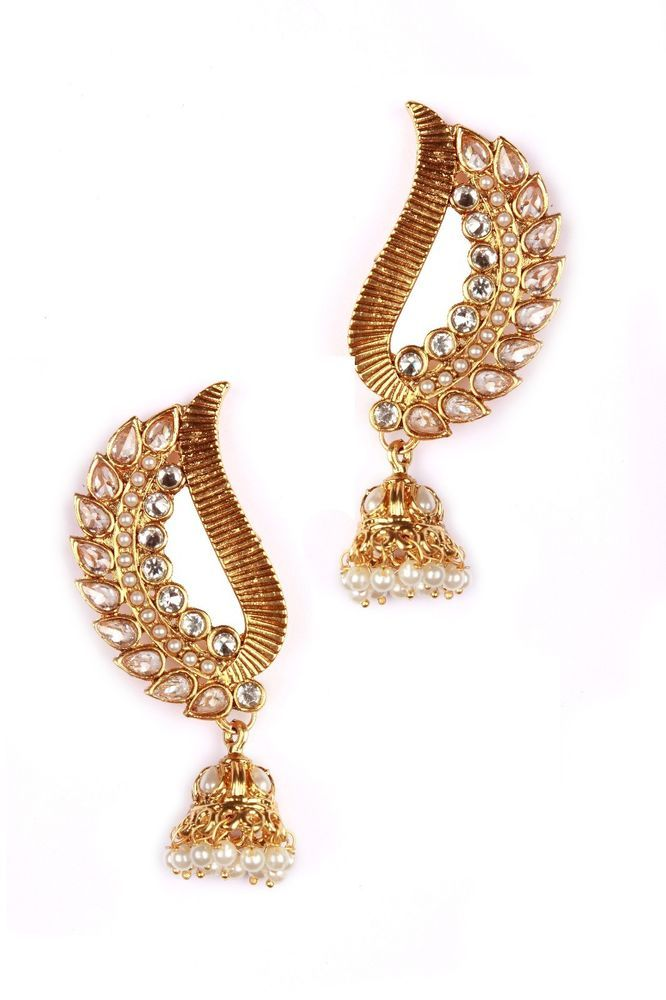 Indian Bollywood Fashion Jewelry Pearl Earrings Gold Ethnic Kundan Designer New #vidhijewelss #DropDangle