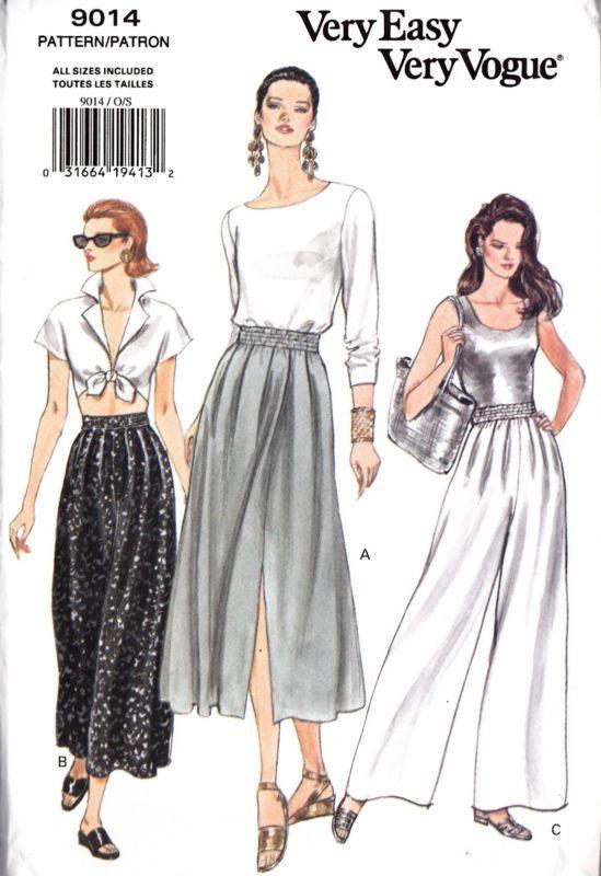 b3878b2374375 VOGUE Sew Pattern 9014 Pull-On Flared Skirt & Wide Legged Pants S-XL ...