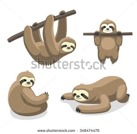 Sloth Cartoon Vector Illustration 1 | sloth | Pinterest ...