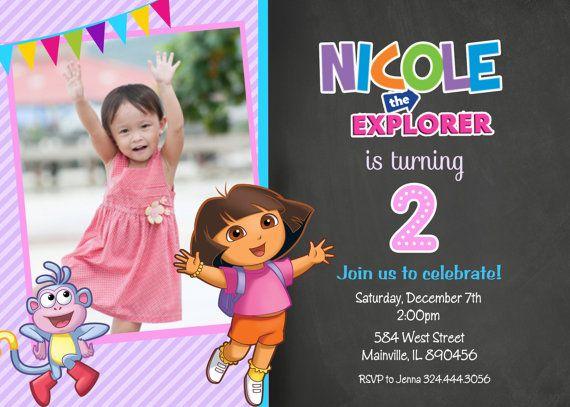 Dora the Explorer Birthday Party Invitation by PrettyPaperPixels – Dora Party Invites