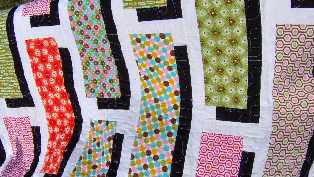Twin Size Quilt, Green, Orange, Pink, Black, and White