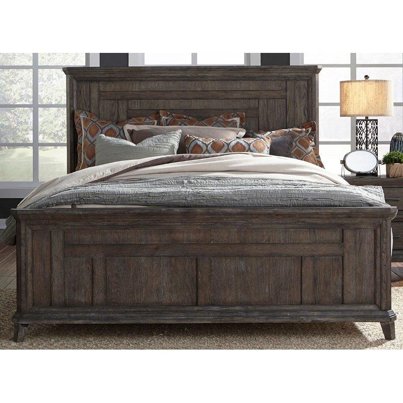 Classic Industrial Aged Oak King Size Bed Artisan Prairie King Size Bedroom Furniture Oak King Size Bed King Sized Bedroom