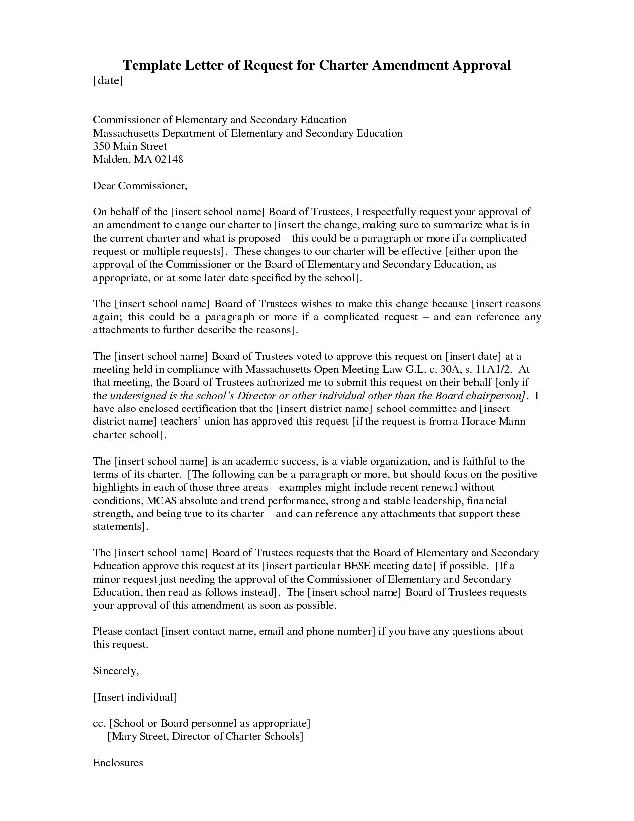 Template Letter of Request for Charter Amendment Approval