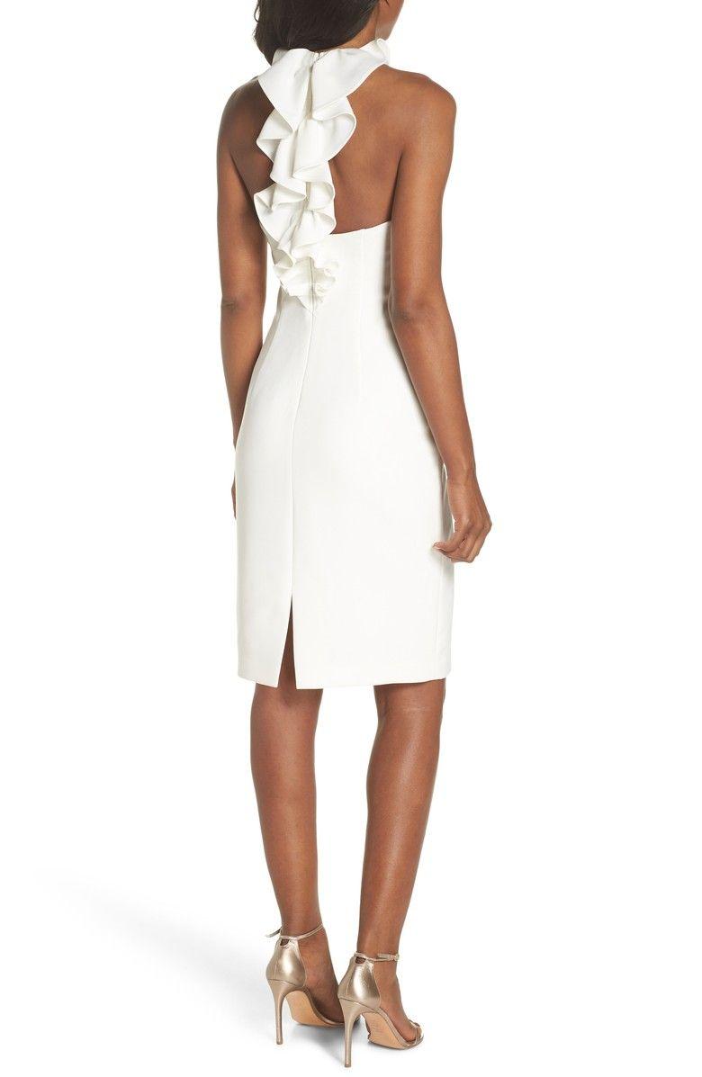 Vince Camuto Sleeveless Ruffle Back Sheath Dress Nordstrom Cute White Dress Engagement Party Dresses Dresses [ 1197 x 780 Pixel ]
