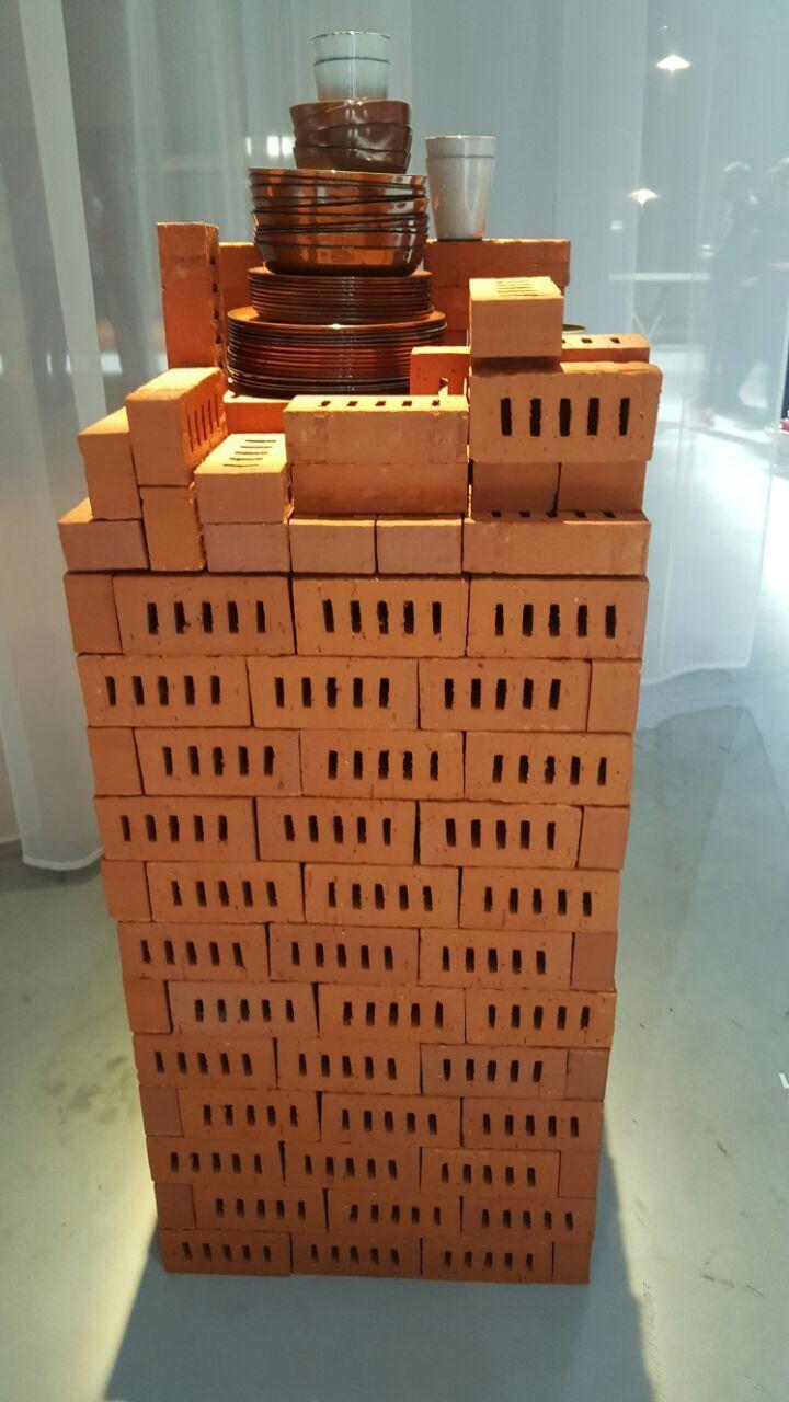 Display design concept with bricks