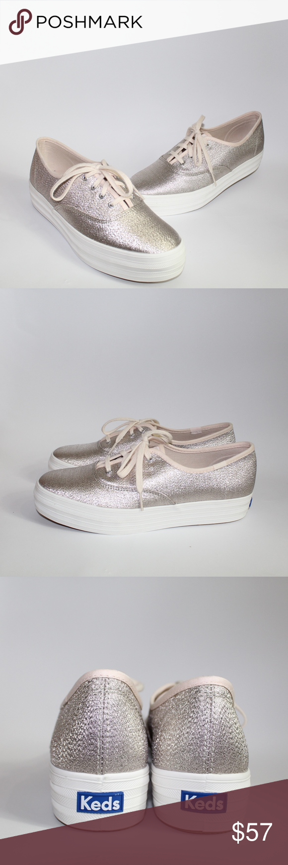 dfbec8c47d3cc Keds Champagne Triple Lurex Shimmer Sneakers 8.5 New without box. Platform  shimmer sneaker from Kids. Keds Shoes Athletic Shoes