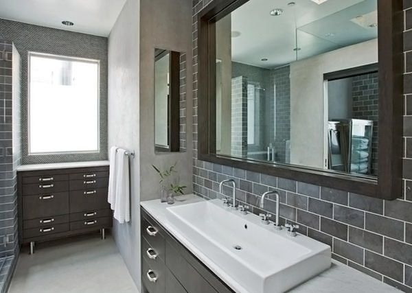 idée salle de bain grise avec carreau et matériaux modernes ...