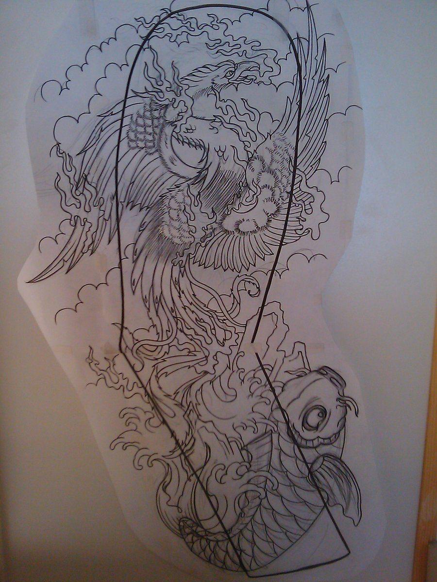 japanese phoenix full sleeve by dudeskinztattooing on
