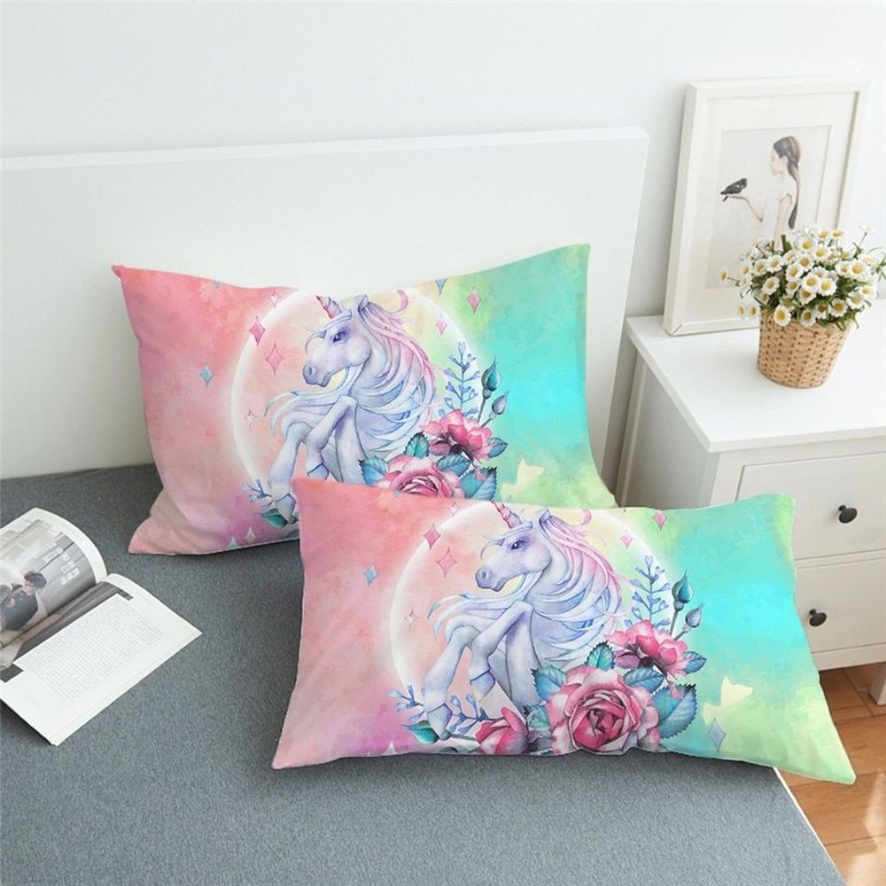 Pillowcases Set Of 2 Floral Unicorn And Roses Bedding Pillow Cover King Queen Unbranded Contemporary Sleepin Bed Pillows Unicorn Bed Set Blue Green Pillow
