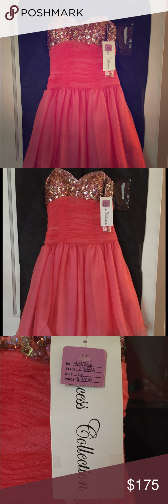 Beaded coral prom dress size