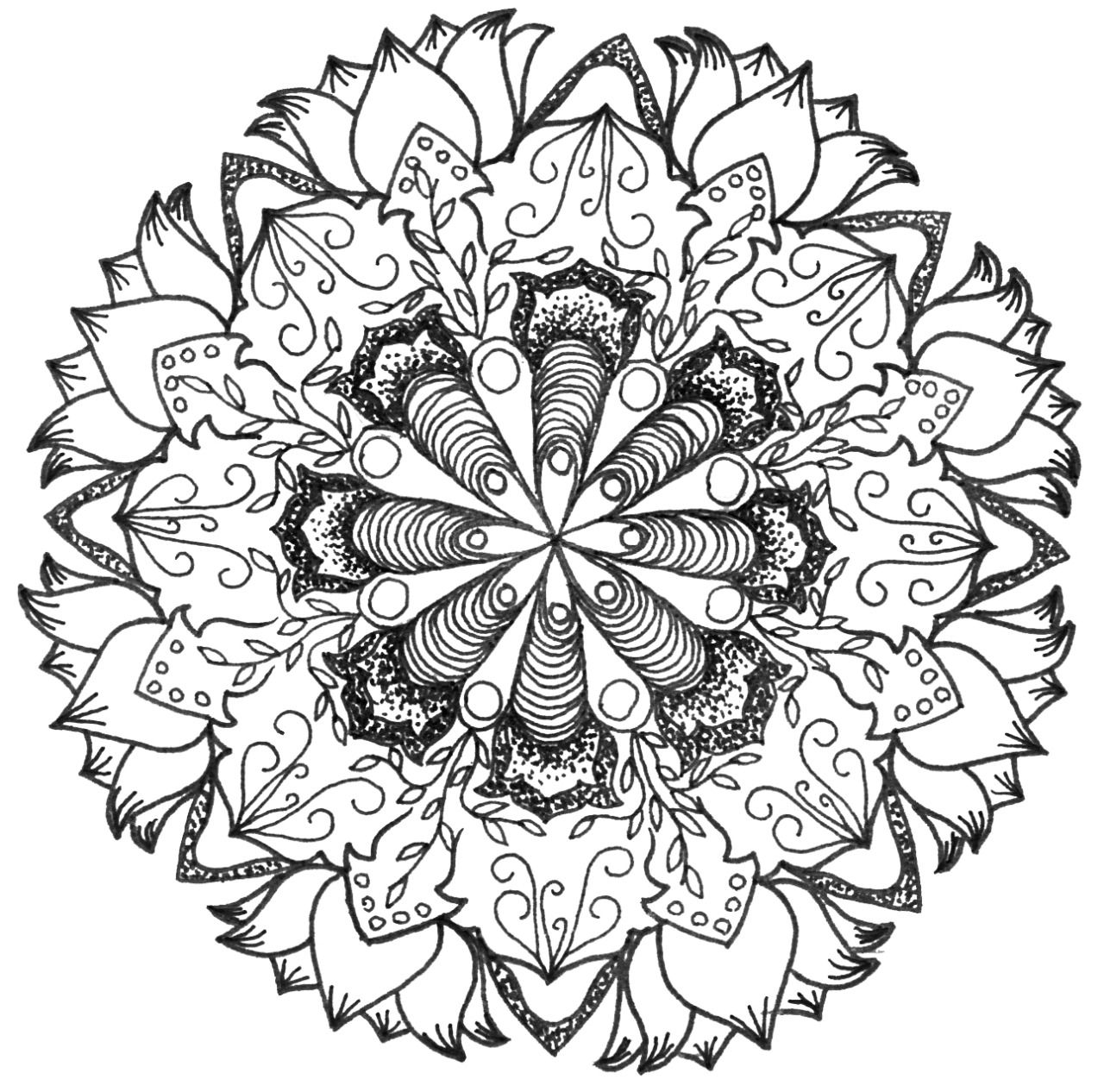 Mandala Abstract Doodle Zentangle Coloring Pages Colouring Adult Detailed Advanced Printable