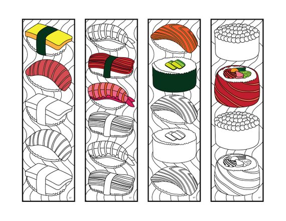 Sushi Bookmarks Pdf Zentangle Coloring Page Etsy In 2020 Coloring Bookmarks Coloring Pages Cute Coloring Pages