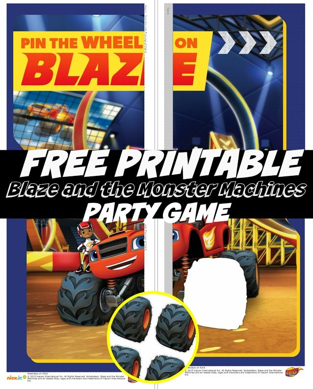 FREE Printable Blaze And The Monster Machines Nick Jr Birthday Party Game