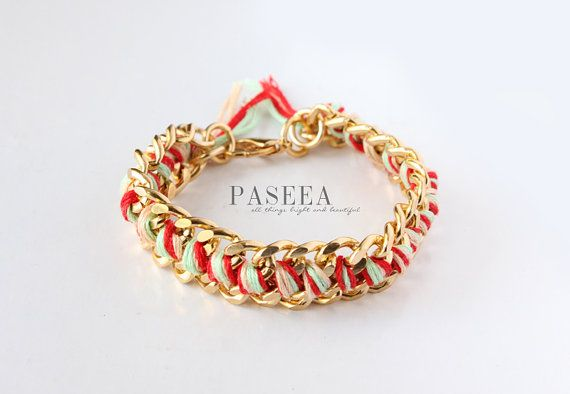 LIMITED TIME SALE Woven Chain Bracelet Gold Chain by PASEEA, $13.60