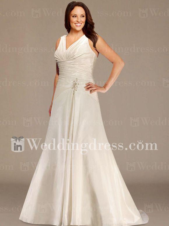Gorgeous V-Neck Plus Size Wedding Gown http://www.inweddingdress.com/style-ps057.html