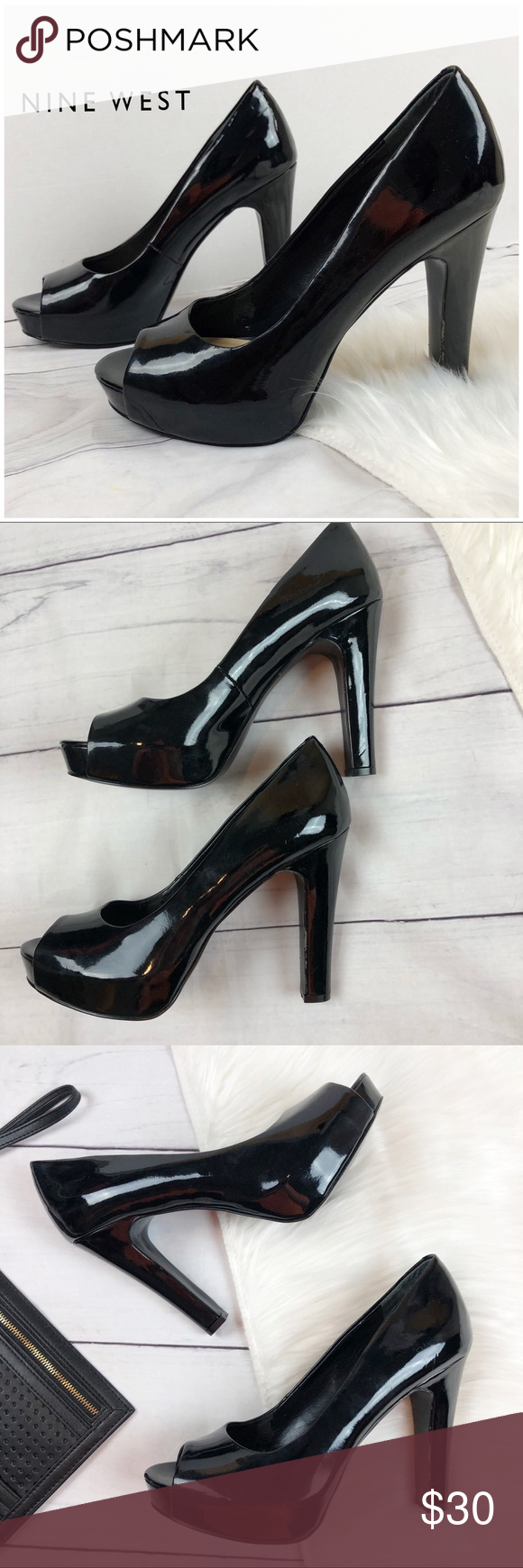 fecd1df6c52 Nine West Black Patent Leather Peep Toe High Heels Nine West Women s shoe size  8 M medium Jordyo High heel Black patent leather Peep toe In very good ...