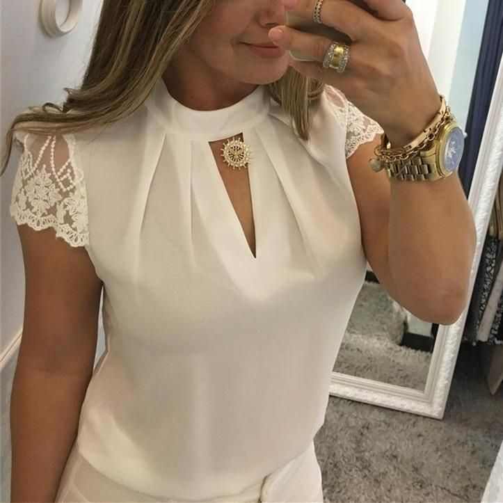 High Neck Deep V Lace Sleeves Stitching Collar Shirt #blusas