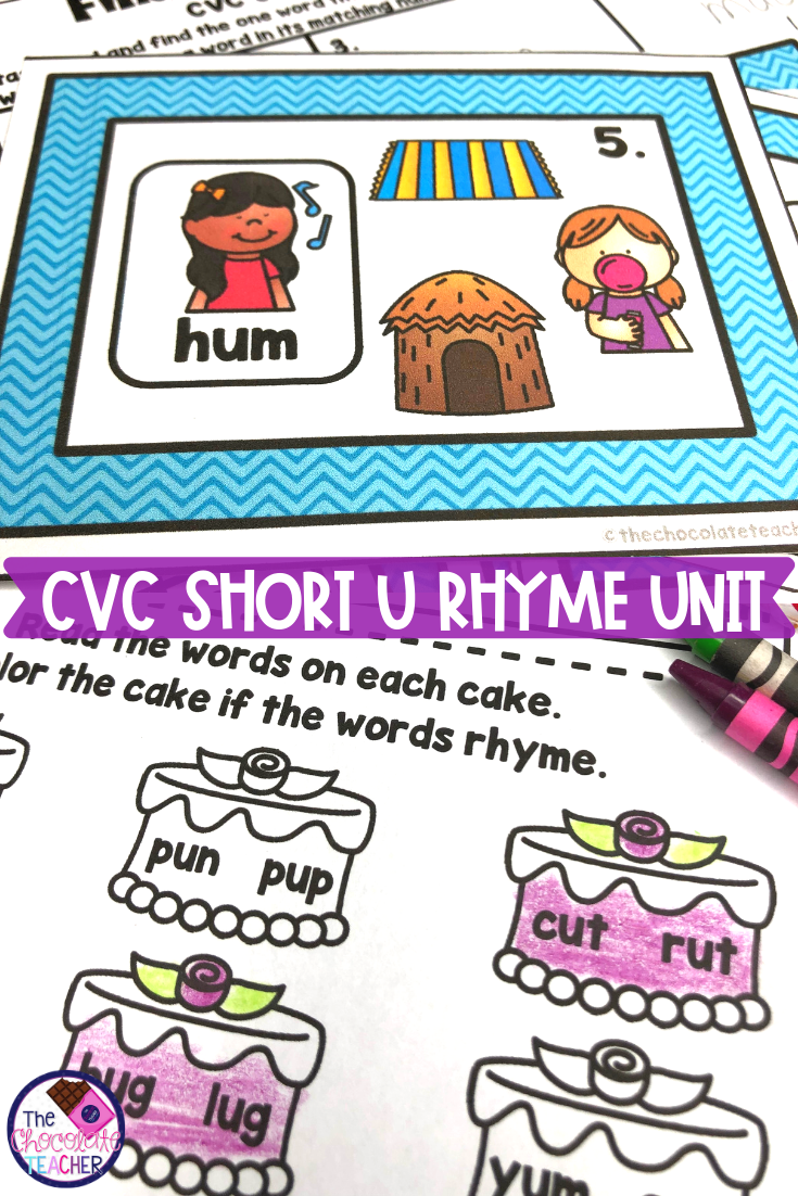 CVC Short U Rhyme Phonics Unit with Task Cards & Printables