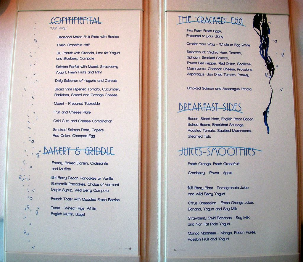 The Breakfast Menu At Blu A Specialty Restaurant On