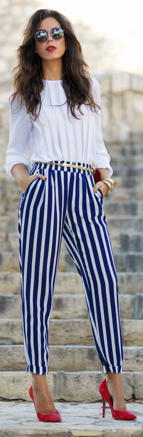 5 ways to wear striped pants and looking like like wearing pajamas