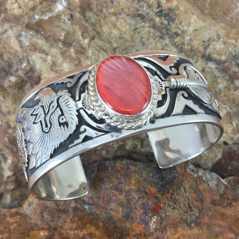 Red & Orange Spiny Oyster Sterling Silver Cuff Bracelet by F Charley