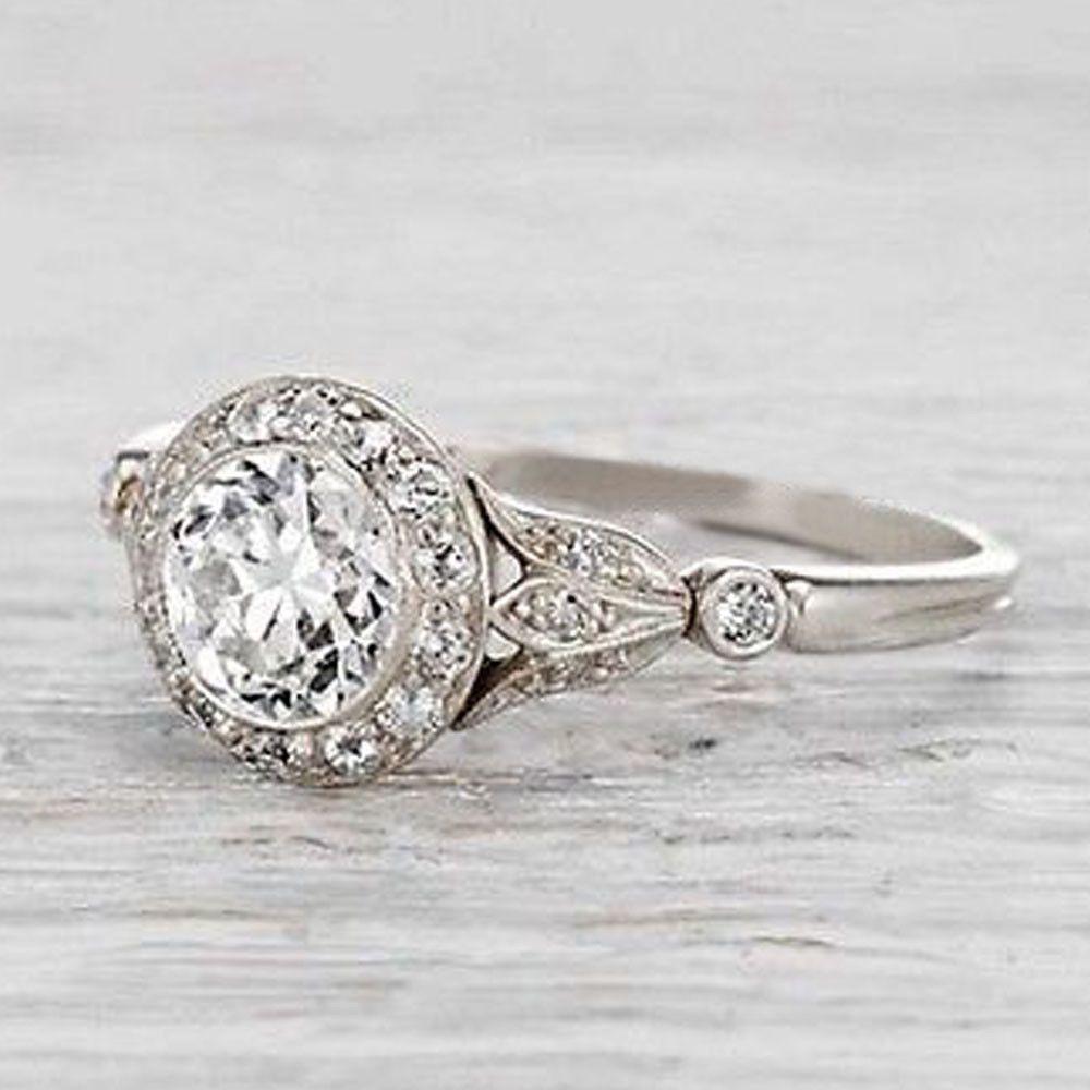 Art deco bezel set off white moissanite engagement ring wedding