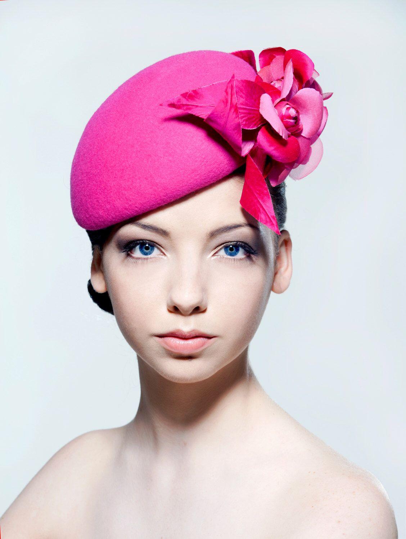 Felt beret with silk dupion and silk organza flower spray perfect ...
