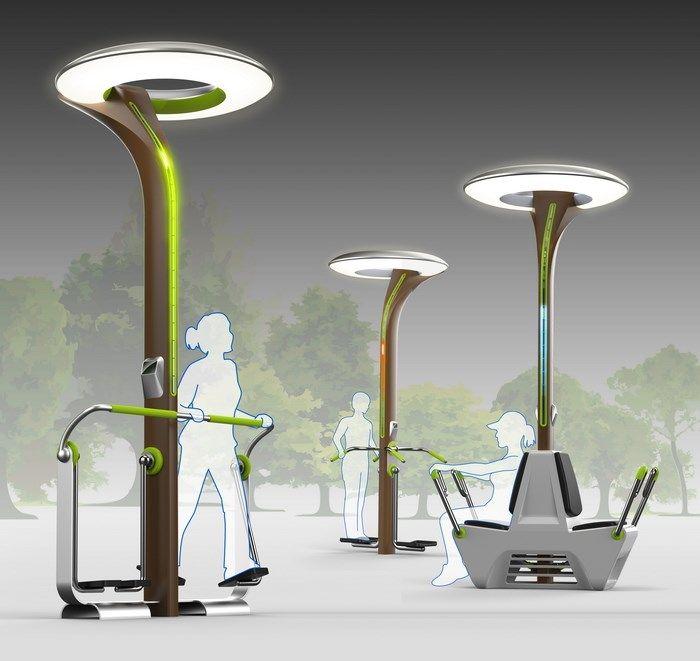 Equipamento produz energia elétrica para iluminação pública através de exercícios físicos