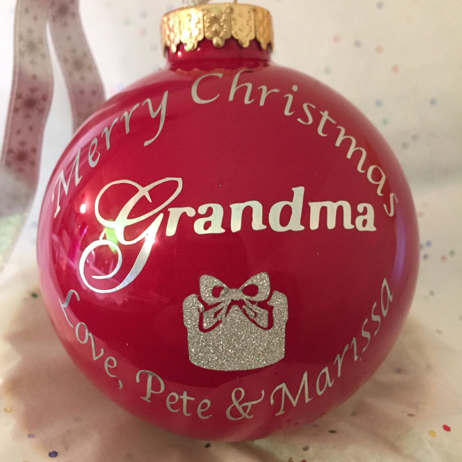 Merry Christmas Grandma, etc. personalized Red glass ornament by ...