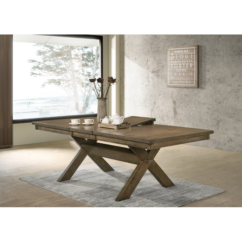 Poe Cross Buck Extendable Dining Table Dining Table Extendable