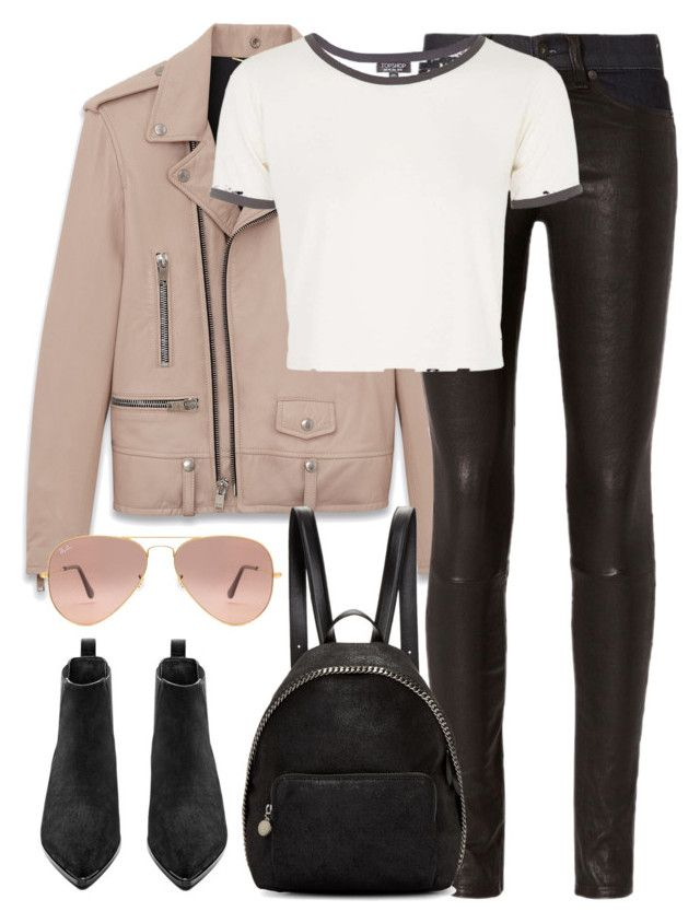 """""""Untitled #2845"""" by elenaday ❤ liked on Polyvore featuring Yves Saint Laurent, rag & bone, Topshop, STELLA McCARTNEY, Acne Studios and Ray-Ban"""