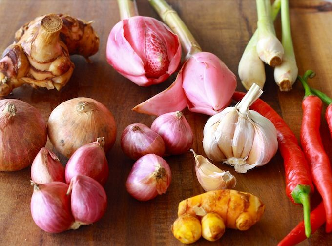 Ingredients For Malaysian Asam Laksa Including Torch Ginger Flower Laksa Ginger Flower Torch Ginger Flower