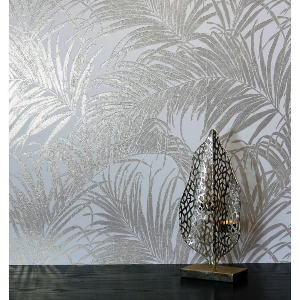 Arthouse Palm Fabric Strippable Wallpaper Covers 57 Sq Ft 903201 The Home Depot In 2021 Metallic Wallpaper Silver Leaf Wallpaper Wall Wallpaper