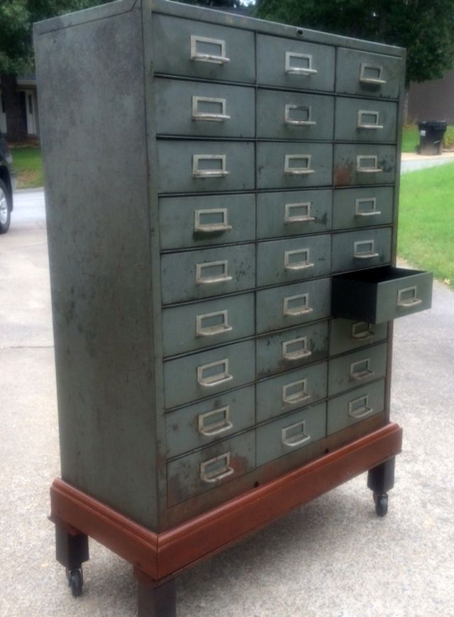 Wonderful Vintage 27 Drawer Metal Cabinet By Cole Steel On Rolling Mahogany  Base, Ca 1950