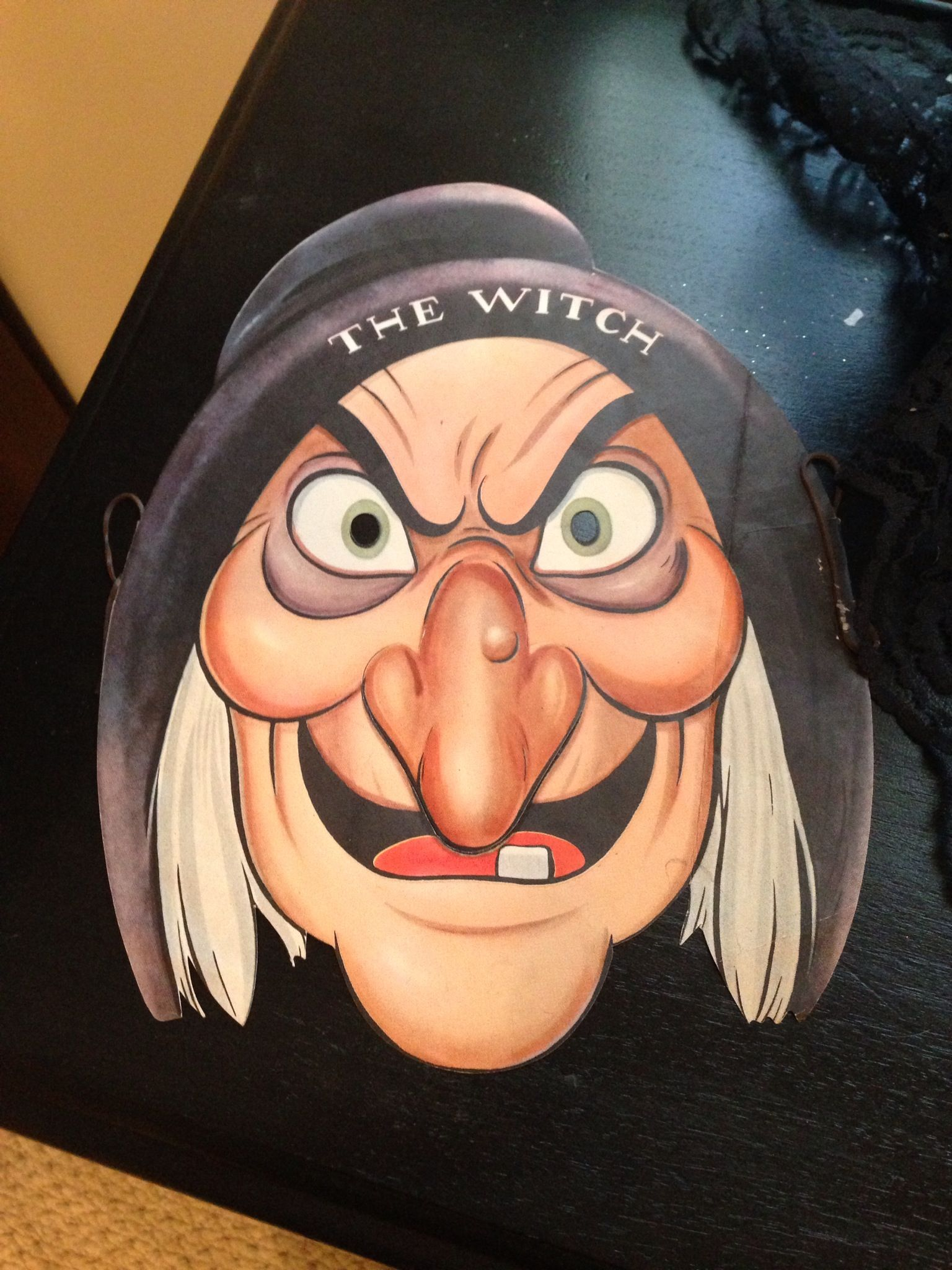 Witch halloween antique Disney Snow White old hag paper mask rare halloween  1937 person collection