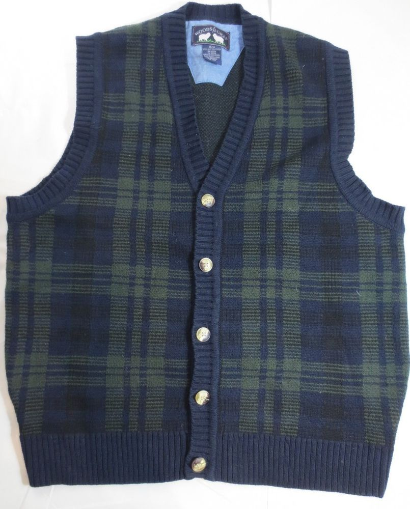 WOODS GRAY Blue/Green Plaid Men's Sweater Vest Cardigan Button Up ...