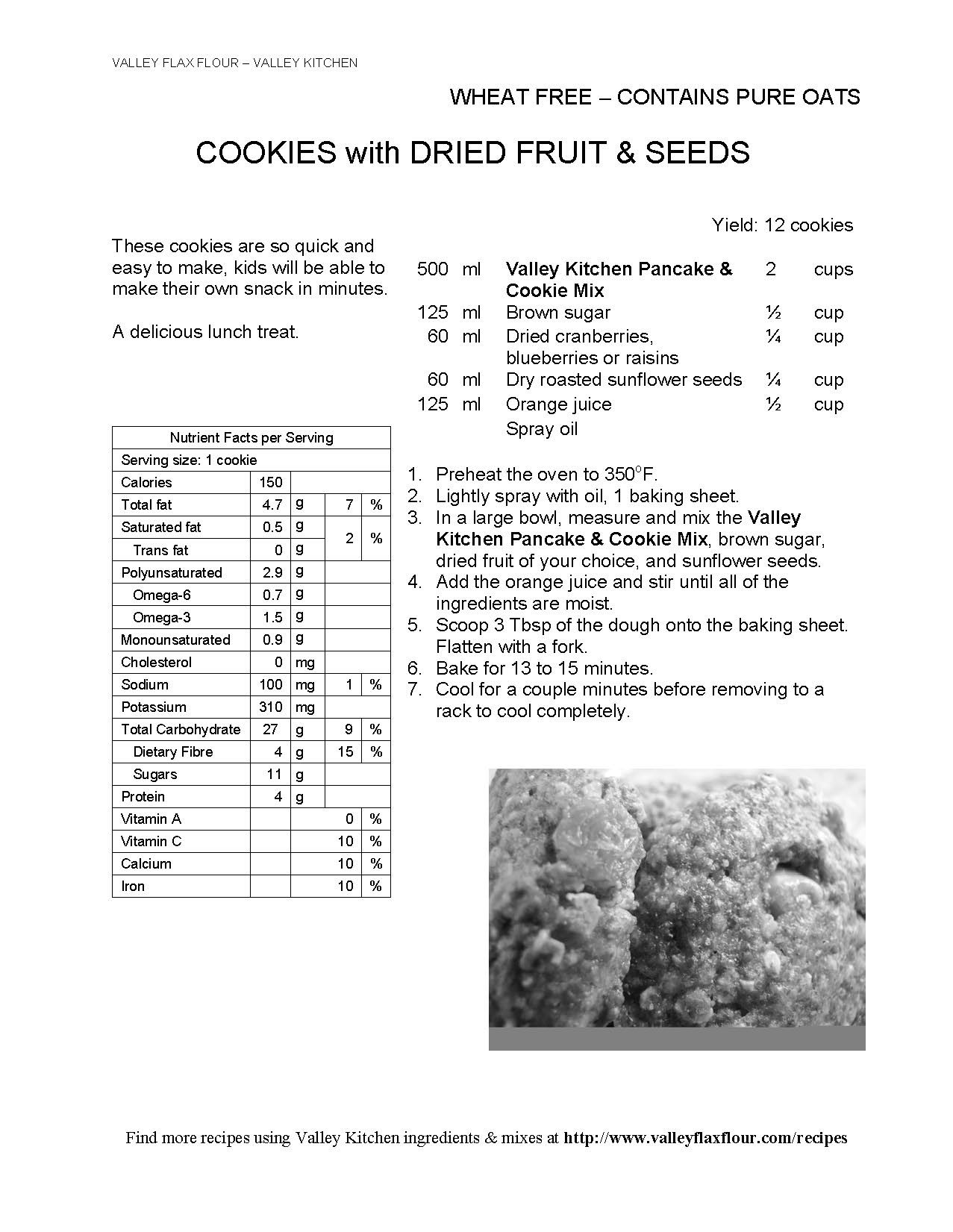 These simple cookies use our pancake & cookie mix, Add in your own choice dried fruit, seeds or nuts. Also great with chocolate chips.
