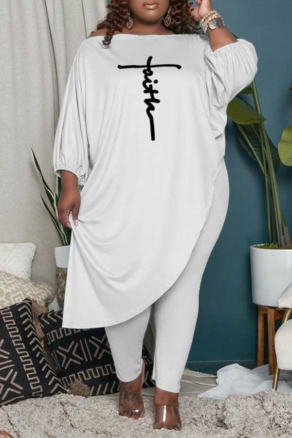 Casual Comfortable Plus Size Irregular Print Pant Ses - White / 5XL