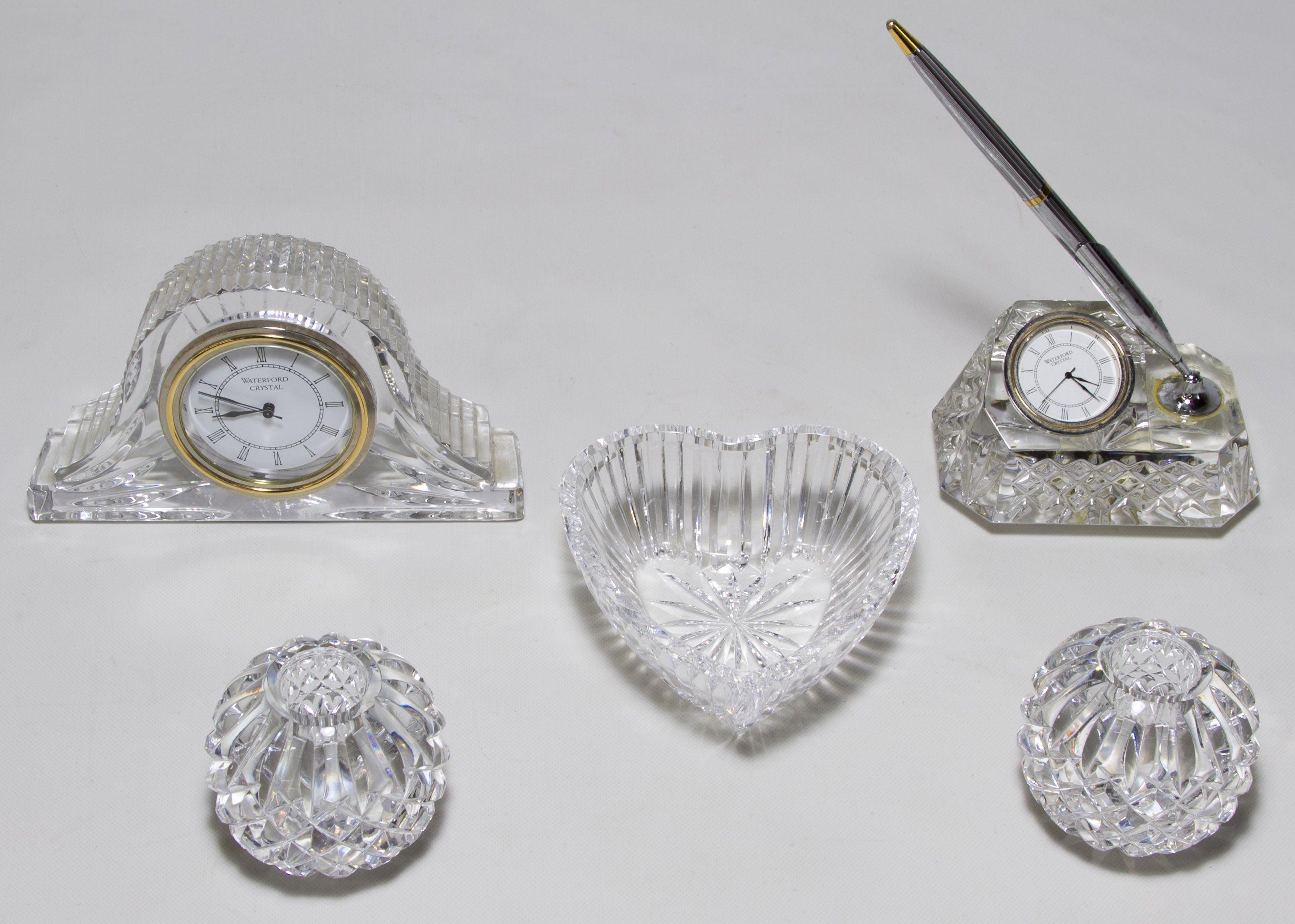 Lot 379 Waterford Crystal Assortment Five Items Including A Pair Of Round Candlestick Holders A Heart Shaped Trinket D Waterford Crystal Crystals Parker Pen