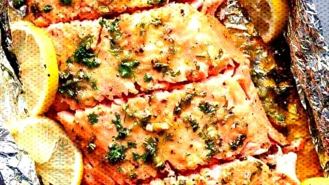 Baked honey-garlic salmon in foil - vegetarian recipes - Baked honey-garlic salmon in foil -