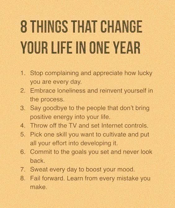 [Image] 8 Things That Change Your Life in One Year